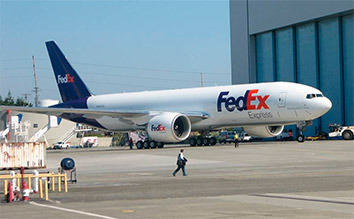FedEx 777 freight airplane