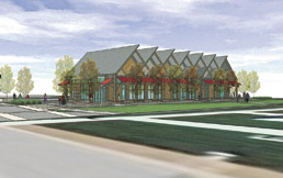Rendering of glass barn exterior